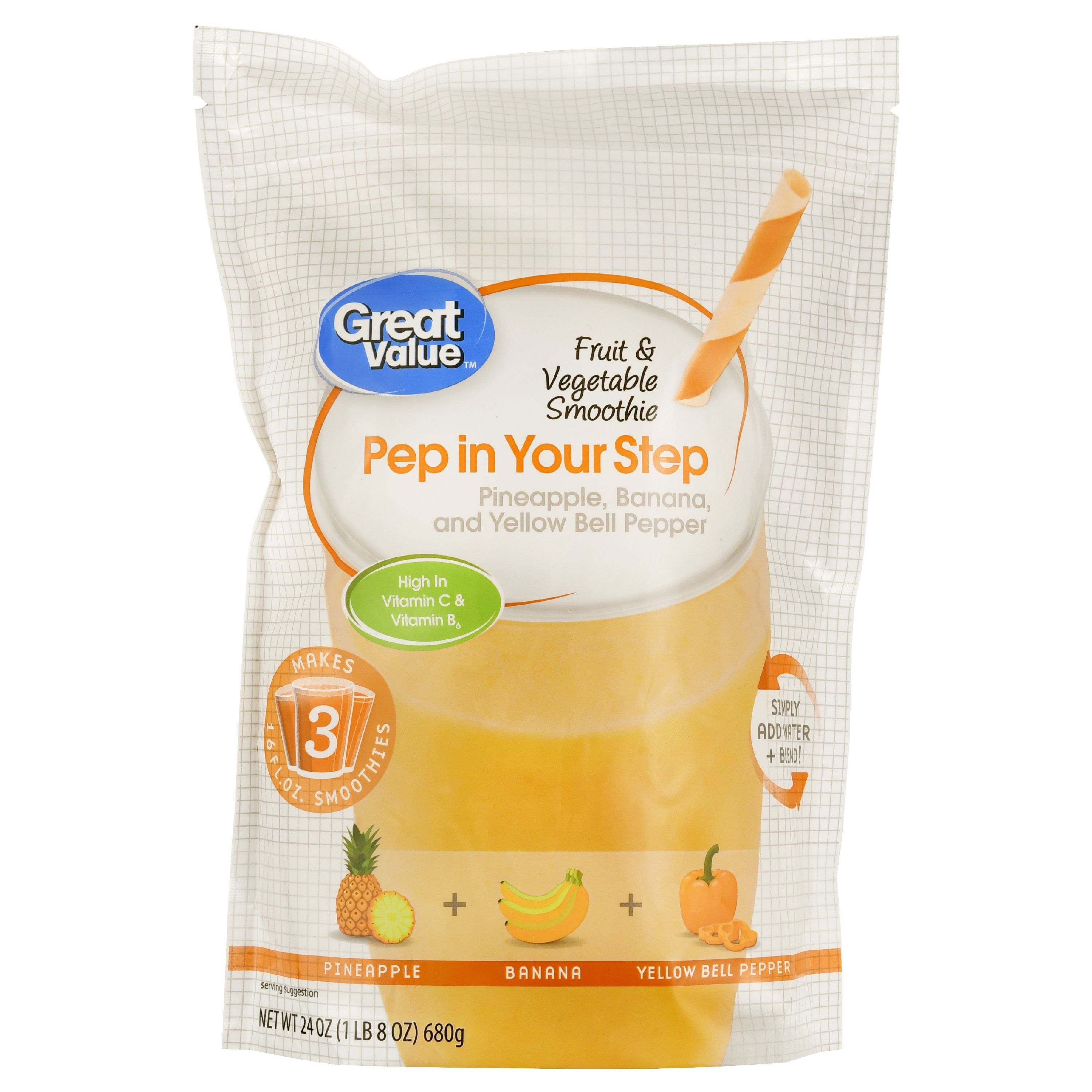 Great Value Fruit & Vegetable Smoothie, Pep in Your Step, 24 oz