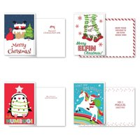 B-THERE Bundle of 12 Boxed Christmas Greeting Cards - Humor, Foil and Glitter Finishes with Envelopes