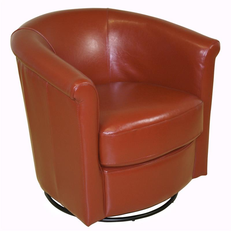 Colby Accent Chair Modern Contemporary Dusk Living Room: Lowe Contemporary Leather-Look Swivel Accent Chair