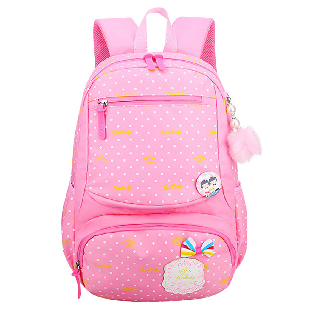 School Backpack, Coofit Bookbag Multi-pockets Casual Backpack with Pompom & Badge for Students Kids Girls Boys (Pink)