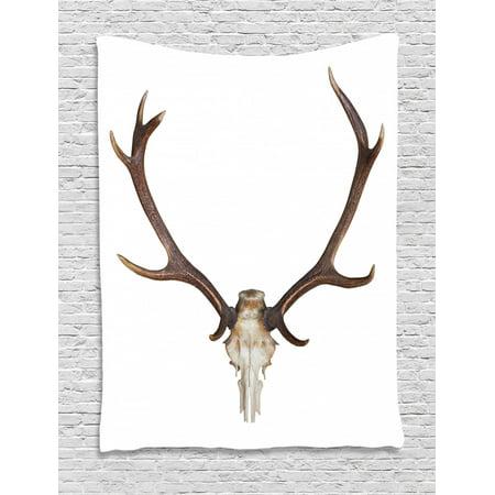 Big Boned Skeleton (Antlers Tapestry, Antlers of a Huge Stag Elk Skeleton Big Bone Horn Hunter Style Artwork Print, Wall Hanging for Bedroom Living Room Dorm Decor, Brown and Beige, by)