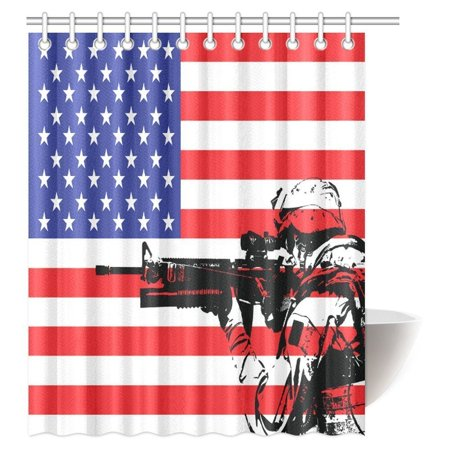 POP American Flag d Monogram USA Military Soldier with M16 Rifle Sketchy Image Bathroom Shower Curtain 60x72 inch - image 2 of 2