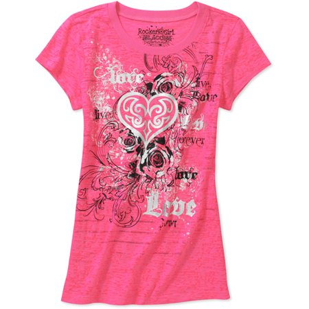 Rocker Girl Juniors' Neon Pink Valentine's Day Graphic T-Shirt ...