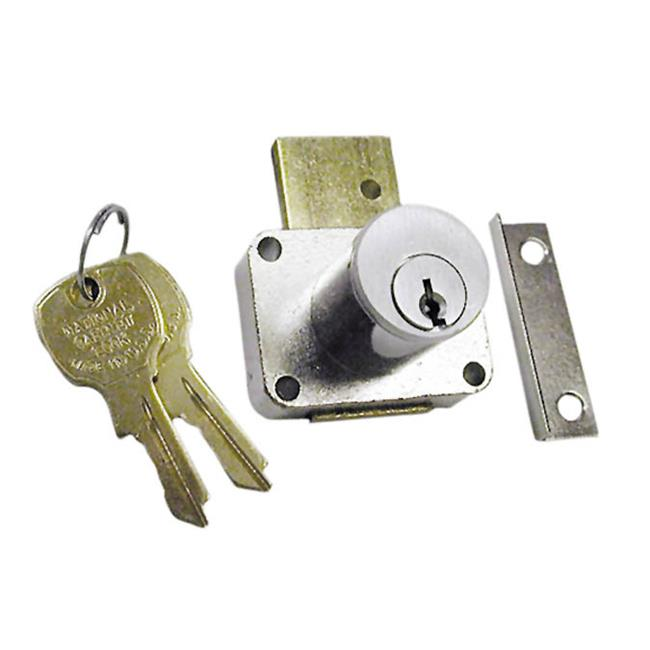 National Lock N8178 26D 915 .88 In. Cylinder Pin Tumbler Drawer Locks With Key 915 - Dull Chrome