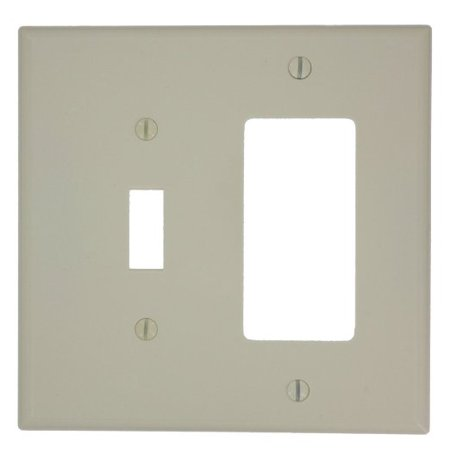 Leviton PJ126-A Almond Midway Nylon Two Gang Combination Toggle Switch Decora Wall Plate Almond Decora Wall Plate