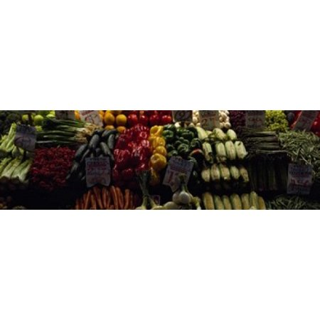 Fruits and vegetables at a market stall Pike Place Market Seattle King County Washington State USA Canvas Art - Panoramic Images (18 x