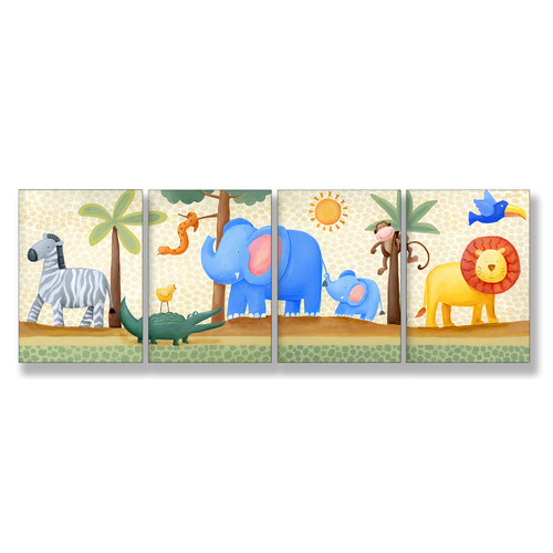 Stupell Industries The Kids Room Zebra, Elephant, Lion, 4 Piece Wall Plaque Set
