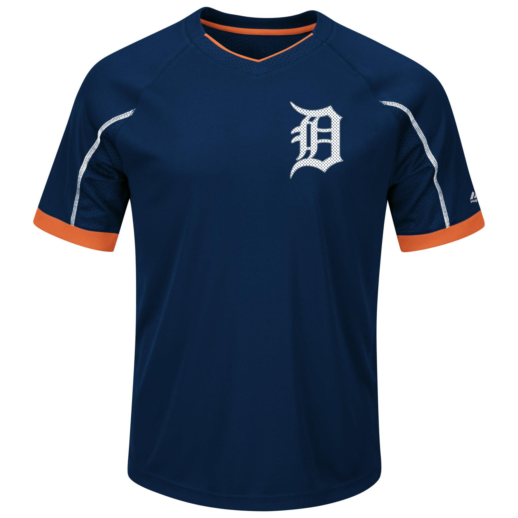 Detroit Tigers Majestic Big & Tall Emergence V-Neck T-Shirt Navy Orange by Profile