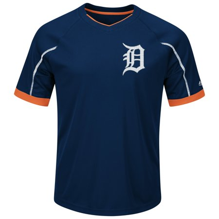 Detroit Tigers Majestic Big & Tall Emergence V-Neck T-Shirt - Navy/Orange
