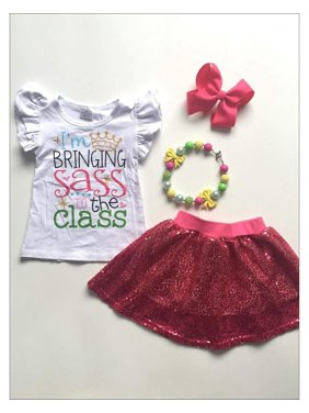 """Girls 1st Day of School """"Bringing Sass to the Class"""" Flutter Sleeve Top & Sequin Skirt Set, Pink, Size: 3XL-8Y"""