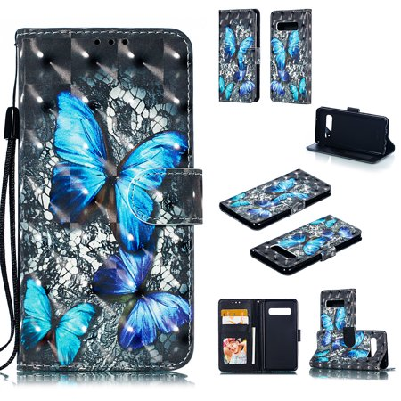 Galaxy S10 Case, Galaxy S10 2019 Case, Allytech 3D Emboss PU Leather Flip Protective Wallet Stand Cover & Credit Card Slots Pocket for Samsung Galaxy S10 (6.1