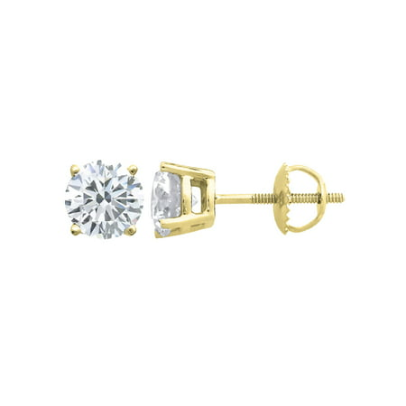 (0.06 carat) 14K Yellow Gold Round Diamond Stud Earrings with Screwback in I3-I4 Clarity ()