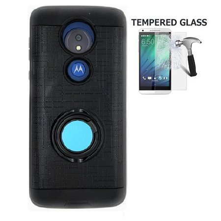 - Phone Case for Motorola Moto G7 Power / Moto G7 Supra (Not fit: Moto G7 & Moto G7 Play), Metal Texture Design Ring Stand Case + Tempered Glass Screen Protector (Black)