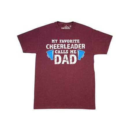 My Favorite Cheerleader Calls Me Dad with Megaphone in White T-Shirt (Cheerleader Male)