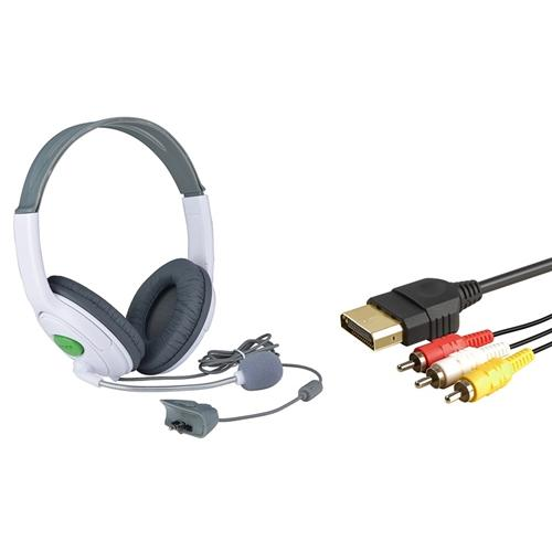 Insten Audio Video AV Cable + Gaming Headset Headphone with Mic Microphone For Xbox 360 / Xbox 360 Slim
