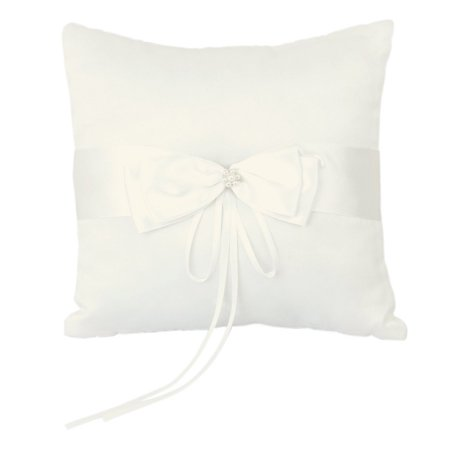 Ring Barer (10*10cm Wedding Ceremony Ring Bearer Pillow Cushion with Satin Double Bowknot Flower Faux Pearl)