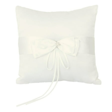 10*10cm Wedding Ceremony Ring Bearer Pillow Cushion with Satin Double Bowknot Flower Faux Pearl (Ivory)