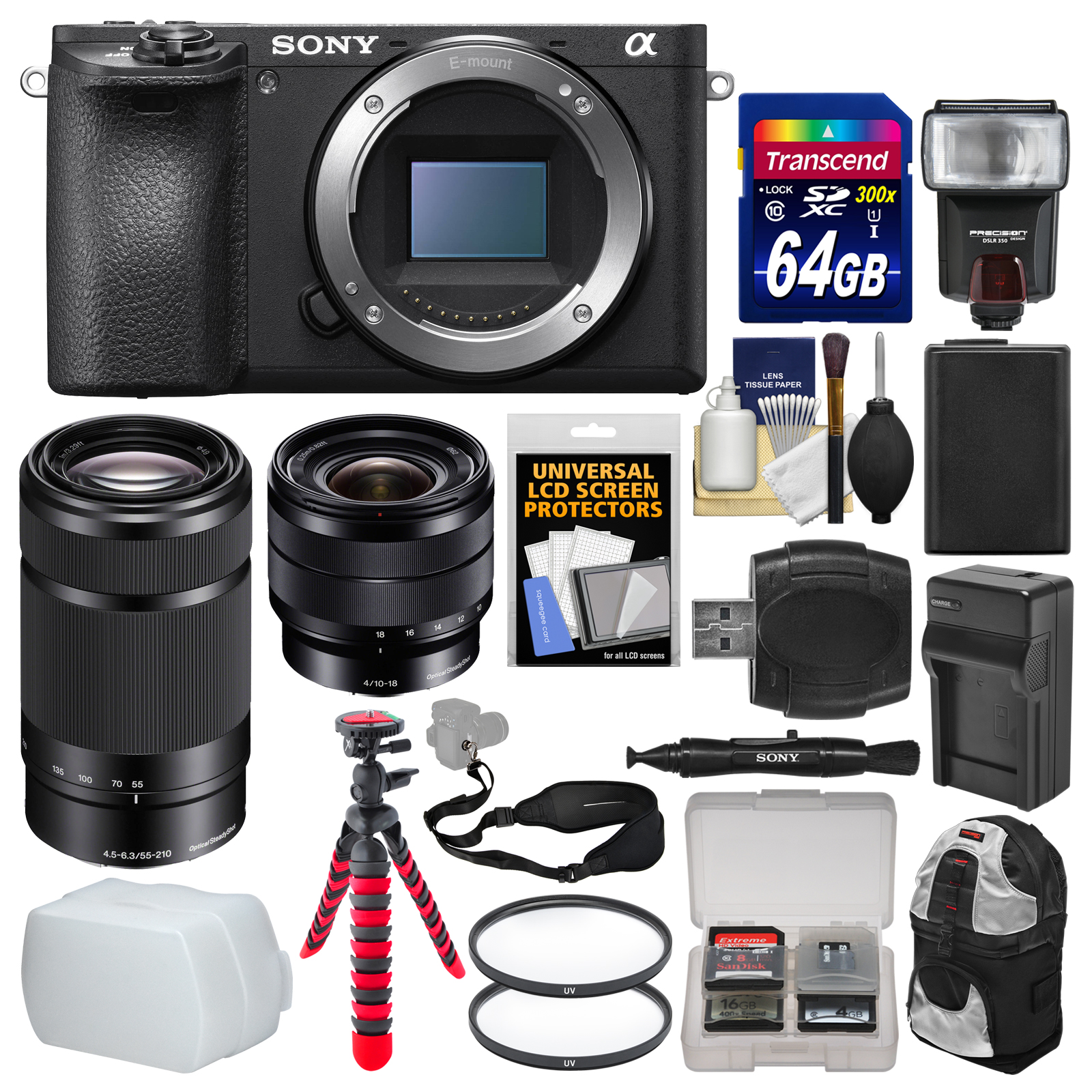 Sony Alpha A6500 4K Wi-Fi Digital Camera Body with 10-18mm f 4.0 & 55-210mm Lenses + 64GB Card + Backpack +... by Sony