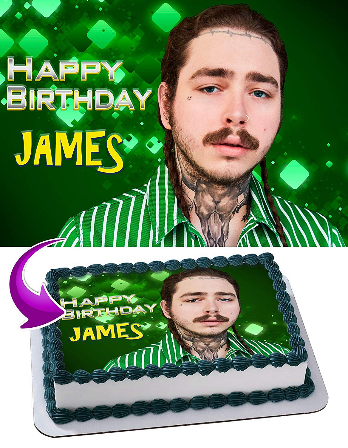 Post Malone Edible Cake Image Topper Personalized Birthday