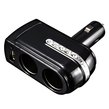 12V 2 Way Car Cigarette Lighter Socket Splitter Plug USB Power Adapter ()