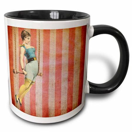 - 3dRose Vintage Trapeze Girl - Two Tone Black Mug, 11-ounce