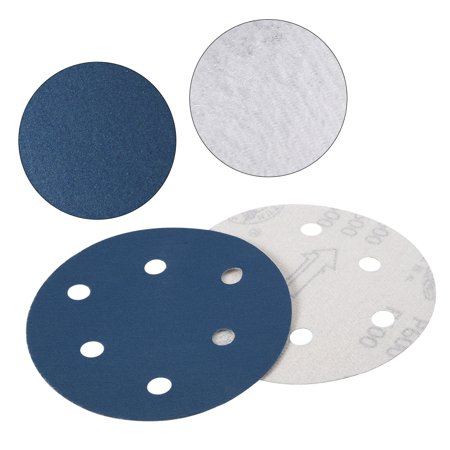 10Pcs 5 Inch 6 Hole Hook and Loop Sanding Disc 600 Grits Flocking Sandpaper Blue - image 1 of 4