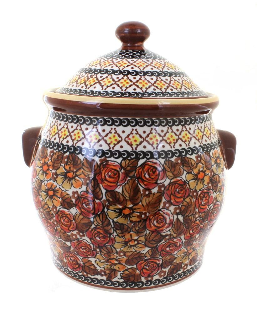 Blue Rose Polish Pottery Autumn Rose Cookie Jar by Zaklady