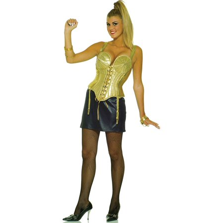 80s Madonna Costumes (Madonna Womens Costume Cone Bra Corset Top Skirt Gold Pointy Singer 80s Pop)