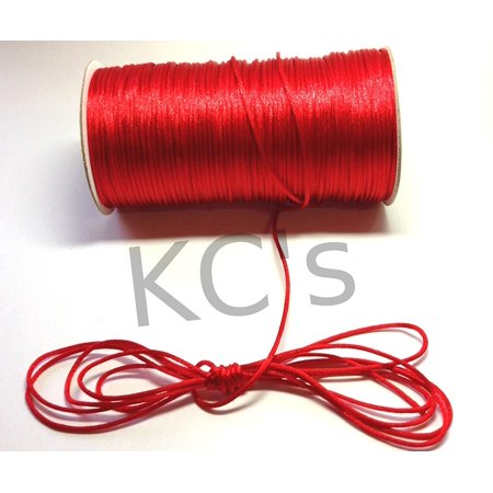 50 Yards - 2mm Red Satin Rattail Cord Chinese/china Knot Rat Tail Jewelry Braid 100% Polyester ()