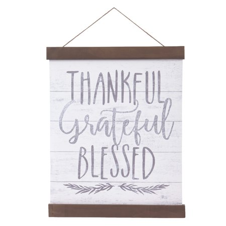 Patton Wall Decor Thankful Grateful Blessed Hanging Canvas Print with Wood Detail