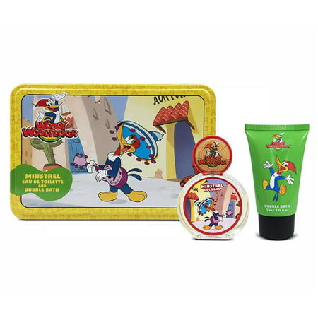 Kids Fragrances 2390 1.7 & 2.5 oz Woody Woodpecker Minstrel Tin EDT Spray & Shower Gel - 2 Piece