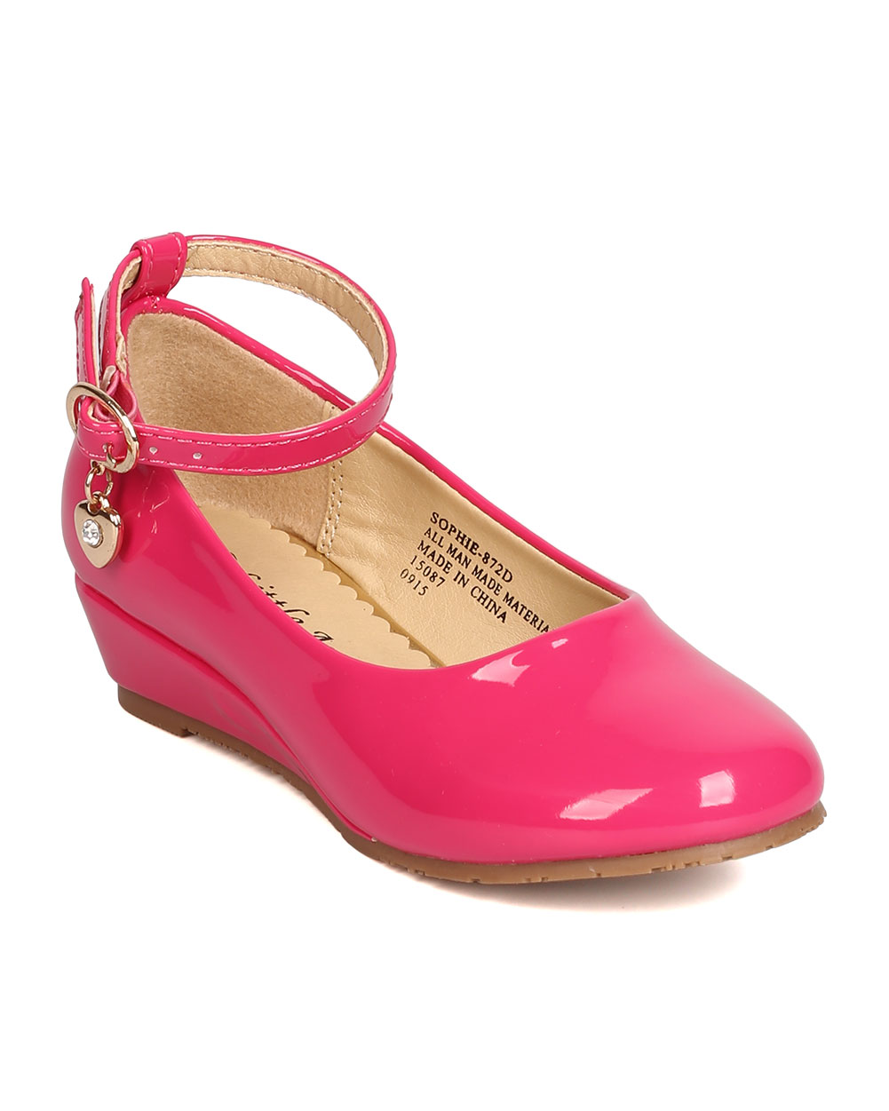 New Girl Little Angel Sophie-872D PU Danging Charm Ankle Strap Wedge Pump