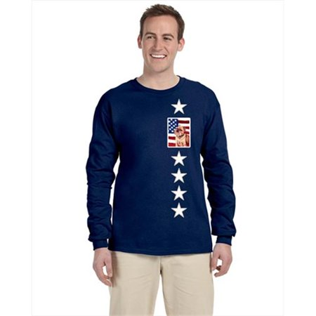 Carolines Treasures LH9023-LS-NAVY-L USA American Flag With Brussels Griffon Long Sleeve Blue Unisex Tshirt - Large - image 1 de 1