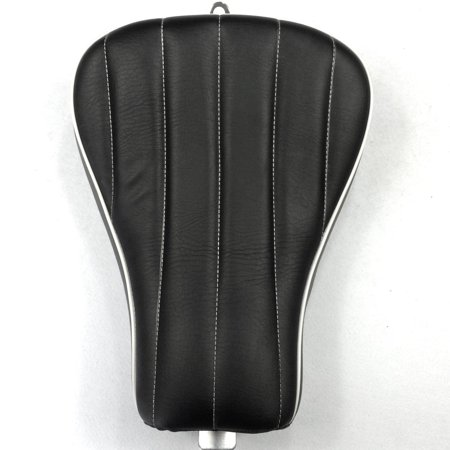 HTT Motorcycle Black Custom Front Solo Driver Vertical Stripes Style Leather Seat For 2010 2011 2012 2013 2014 2015 Harley Davidson XL1200X X48 (2012 Stripe)