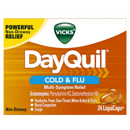 Vicks DayQuil Cold & Flu Multi-Symptom Relief, 24 LiquiCaps - #1 Pharmacist Recommended -Non-Drowsy, Daytime Sore Throat, Fever, and Congestion