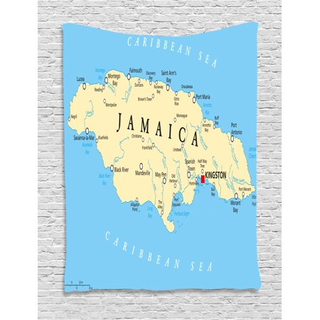 Jamaican Tapestry, Map of Jamaica Kingston Caribbean Sea Important Locations in Country, Wall Hanging for Bedroom Living Room Dorm Decor, Pale Blue Beige Black, by Ambesonne