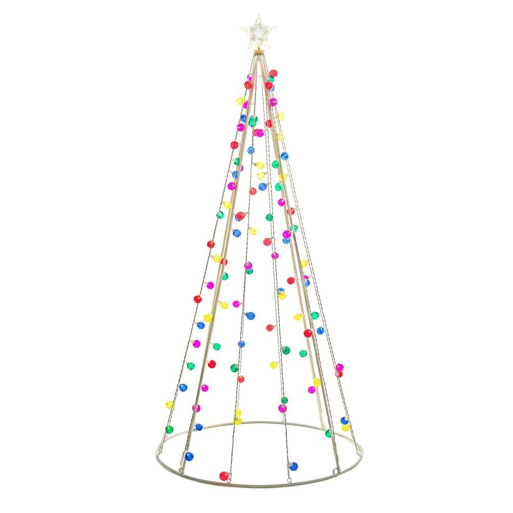 5 Foot Tall Multi Color Lighted Twinkling Cone Tree with ...