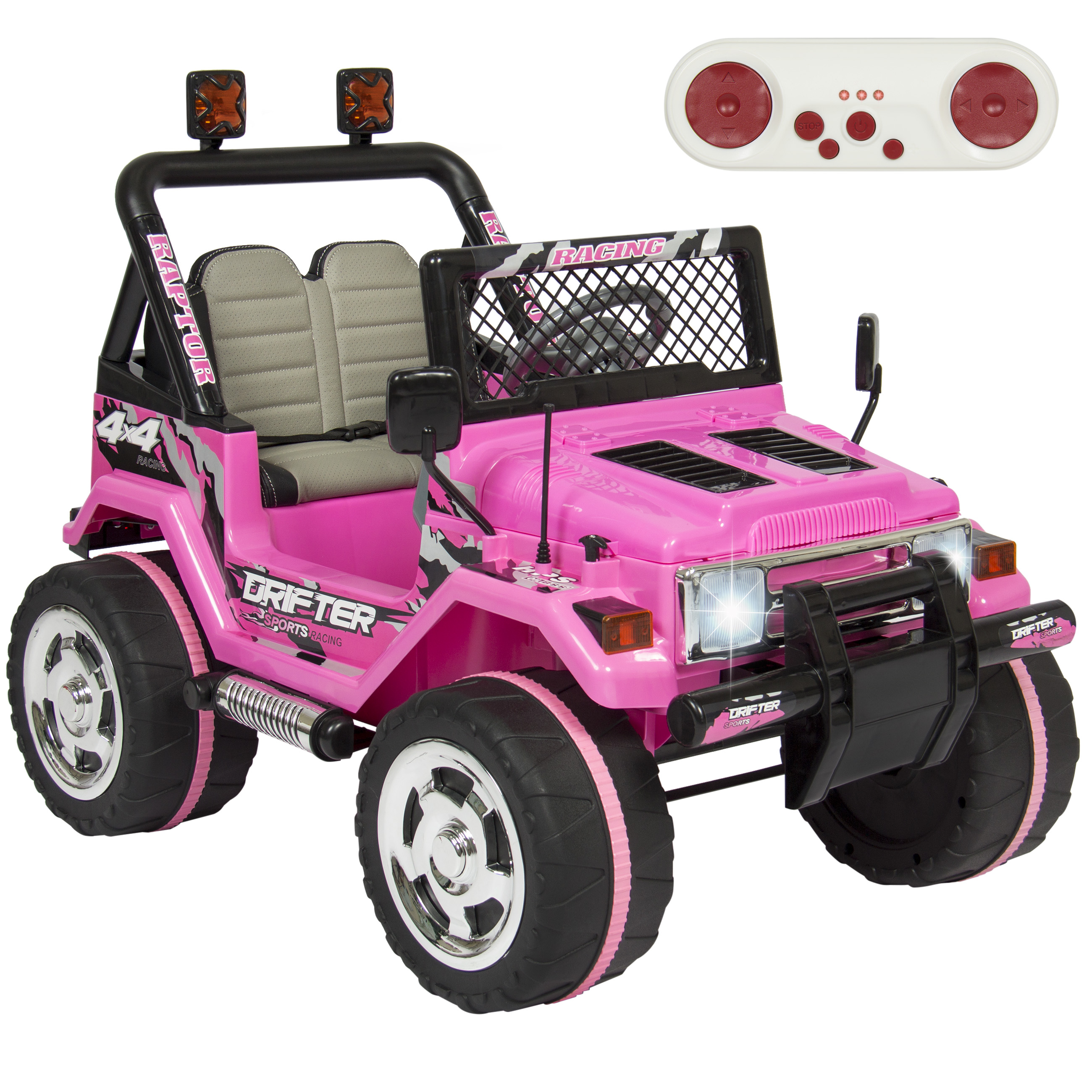 Best Choice Products 12V Ride On Car Truck w  Remote Control, Leather Seat, UV Lights, 2 Speeds- Pink by