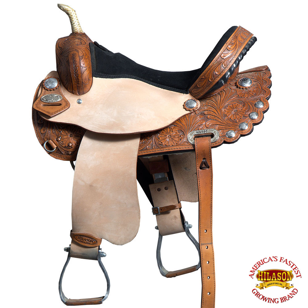 "15"" Western Horse Saddle Leather Treeless Trail Barrel Brown By Hilason O104"