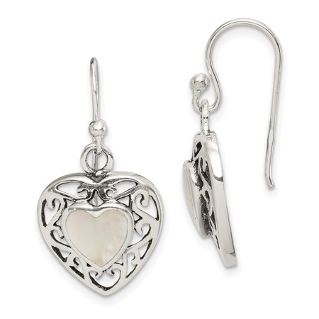 Sterling Silver Mother of Pearl Heart Shepherd Hook Antiqued Earrings ()