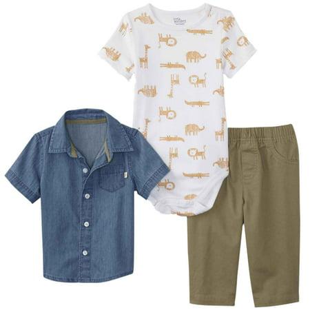 Infant Boys 3-Piece Chambray Shirt Safari Bodysuit & Khaki Pants Set