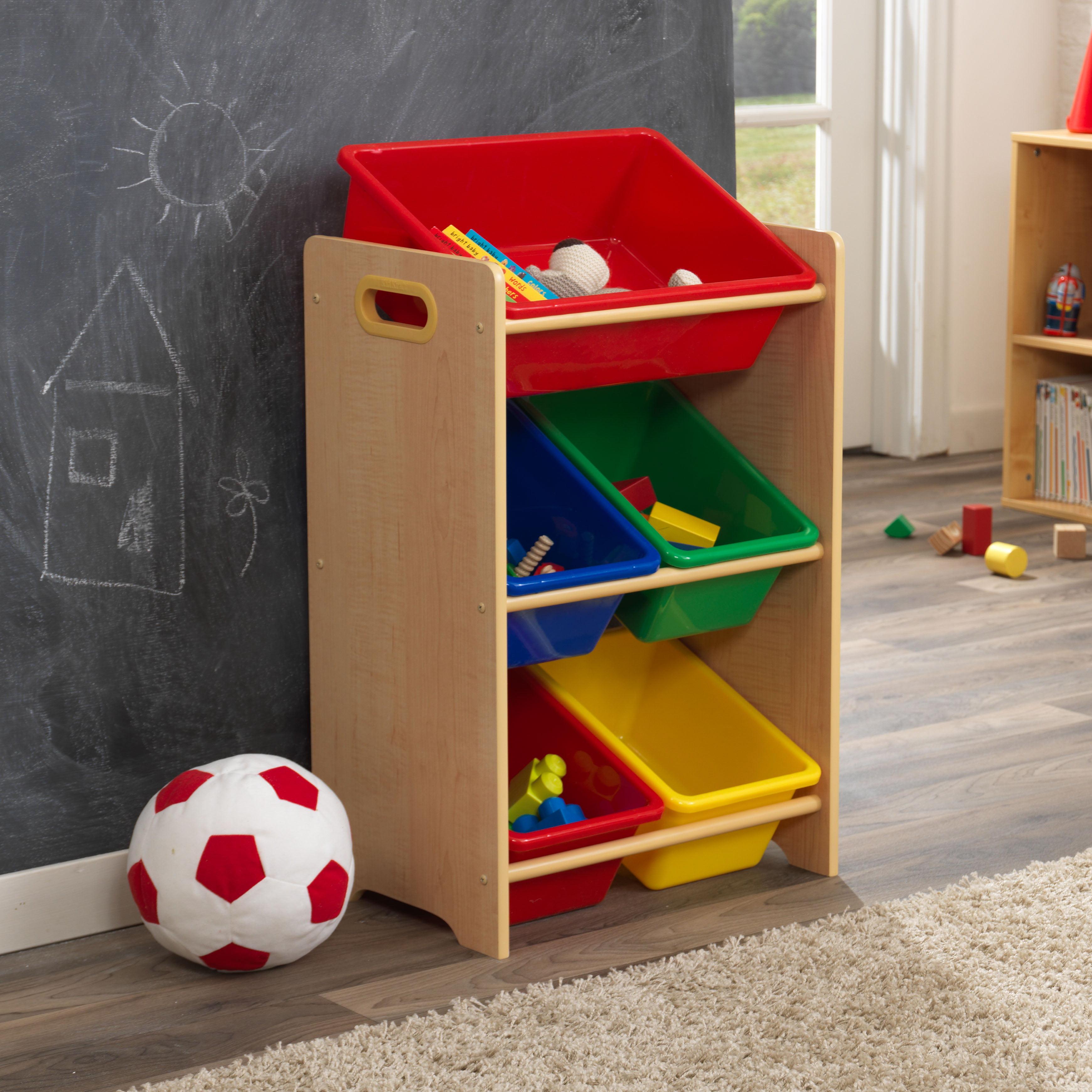 KidKraft Wooden Children\'s Toy Storage Unit with Five Plastic Bins ...