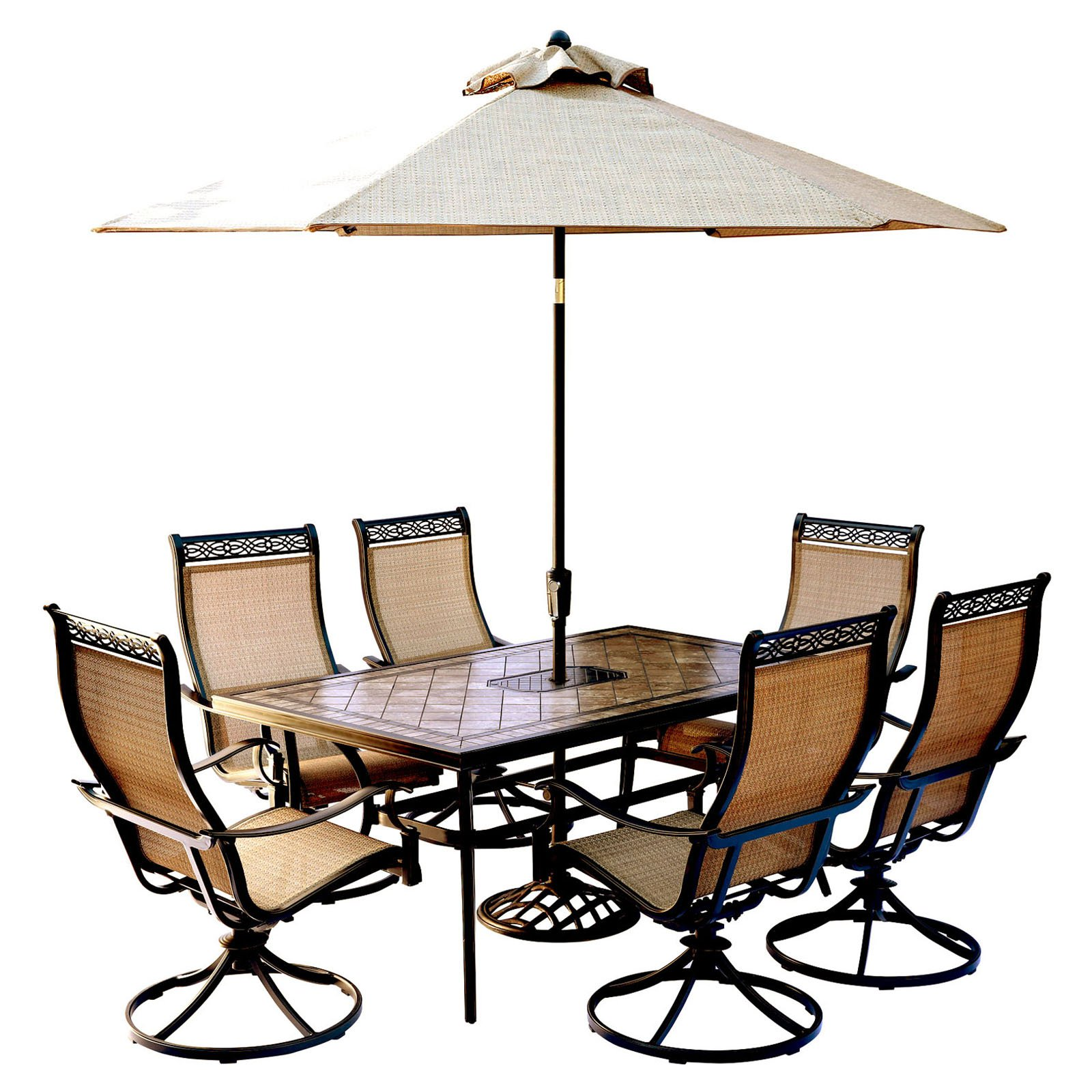"Hanover Outdoor Monaco 7-Piece Sling Dining Set with 42"" x 84"" Glass-Top Table and 6 Swivel Rockers, Cedar"