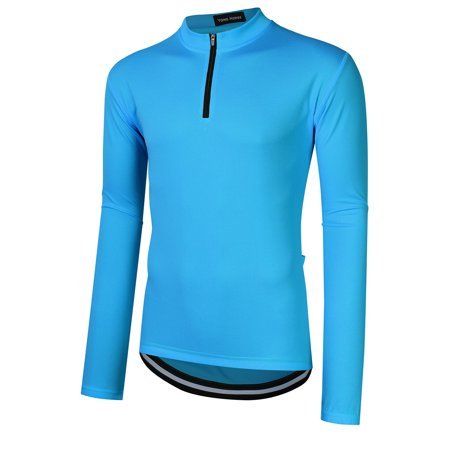 Yong Horse Men's Long Sleeve Cycling Jersey Quick Dry Mountain Bike Biking Shirt Sports Tops Color:Blue Size:S