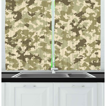 Camo Curtains 2 Panels Set, Old Fashioned Camouflage Pattern Classical Jungle Survival Theme, Window Drapes for Living Room Bedroom, 55W X 39L Inches, Army Green Pale Green Cream, by - Camouflage Theme