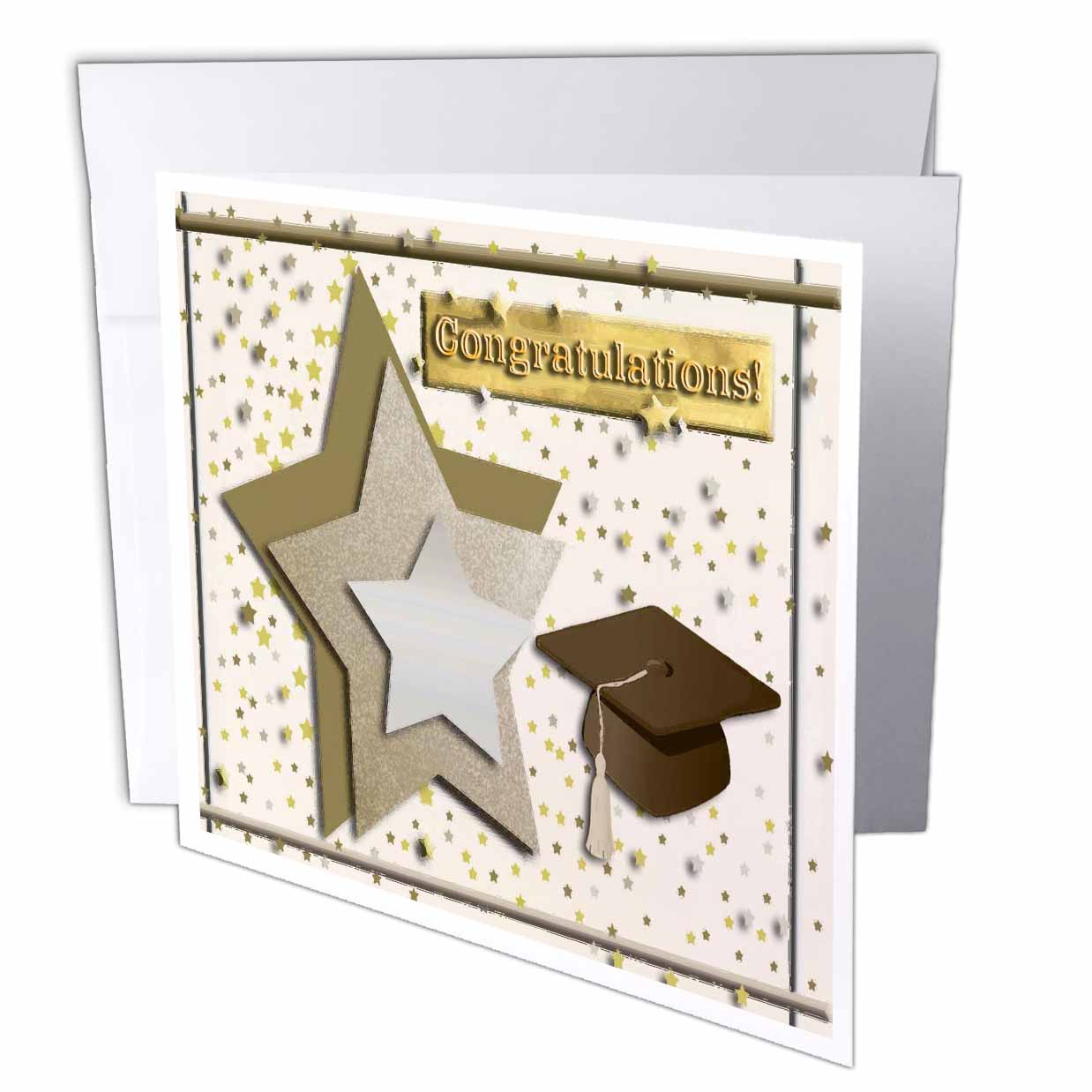Image of 3dRose Congratulations Graduation, Stars, Cap with Tassel, Greeting Cards, 6 x 6 inches, set of 12