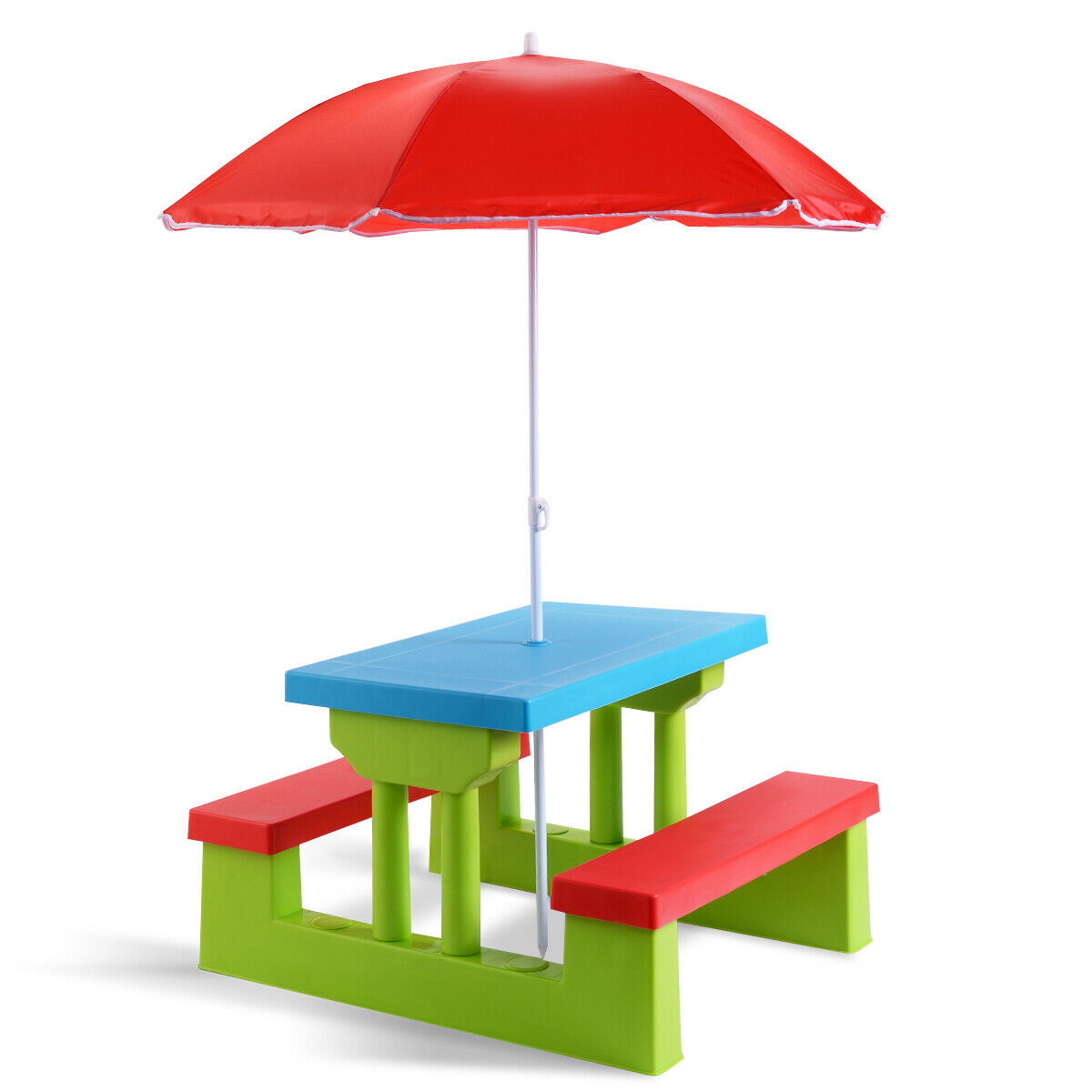 - 4 Seat Kids Picnic Table W/ Umbrella Garden Yard Folding Bench