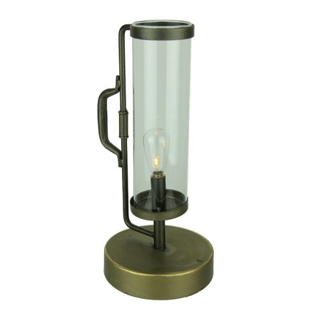 Lantern Accent Lamp (LED Vintage Lantern with Clear Glass Hurricane Shade Accent Light)