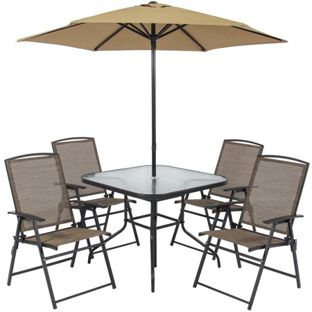 Best Choice Products 6-Piece Outdoor Folding Patio Dining Set w/ Table, 4 Chairs, Umbrella, and Built-In Base -Tan ()