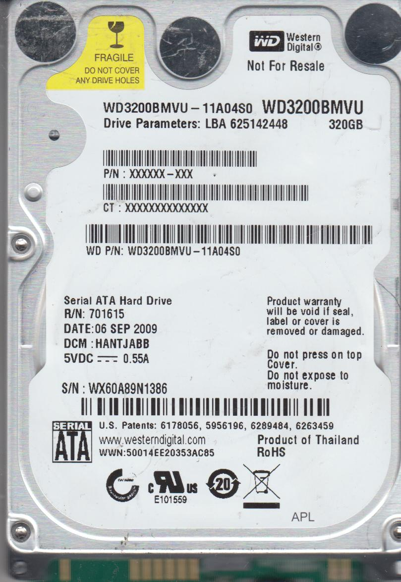 WD3200BMVU-11A04S0, DCM HANTJABB, Western Digital 320GB USB 2.5 Hard Drive by WD